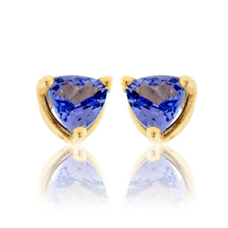 Trillion Shaped Tanzanite Stud Earrings