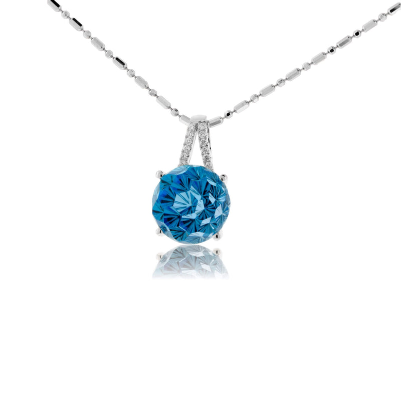 Daisy Cut Blue Topaz & Diamond Pendant