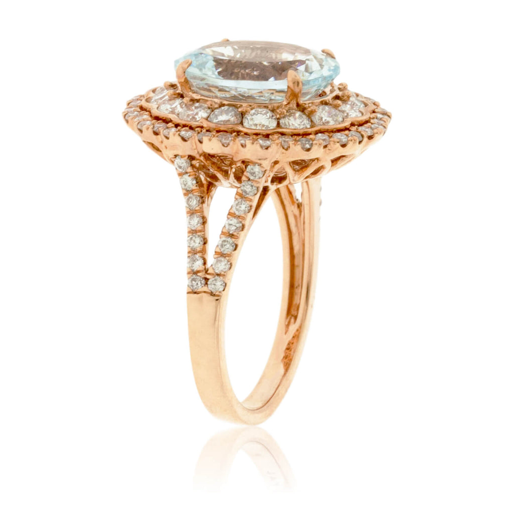 Oval Aquamarine and Scalloped Double Halo Diamond Ring