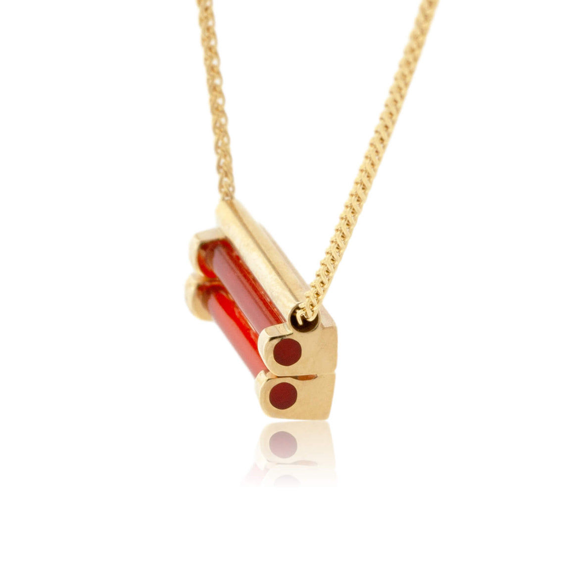 Yellow Gold with Diamond and Carnelian Pendant