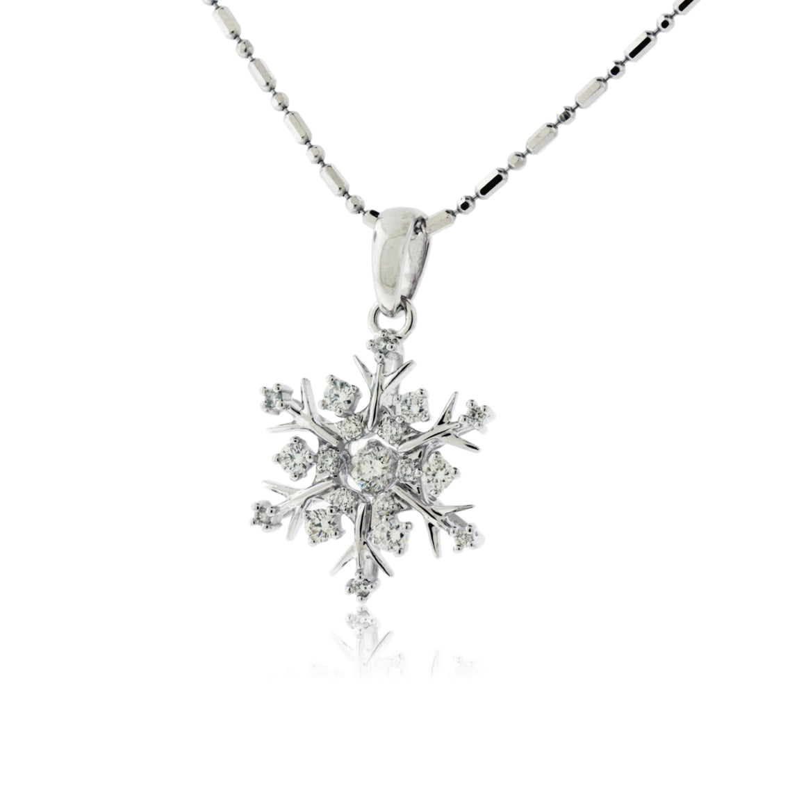 Gold Dancing Diamond Snowflake Necklace