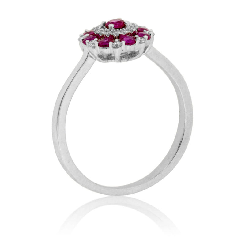 Ruby and Diamond Alternating Cluster Ring