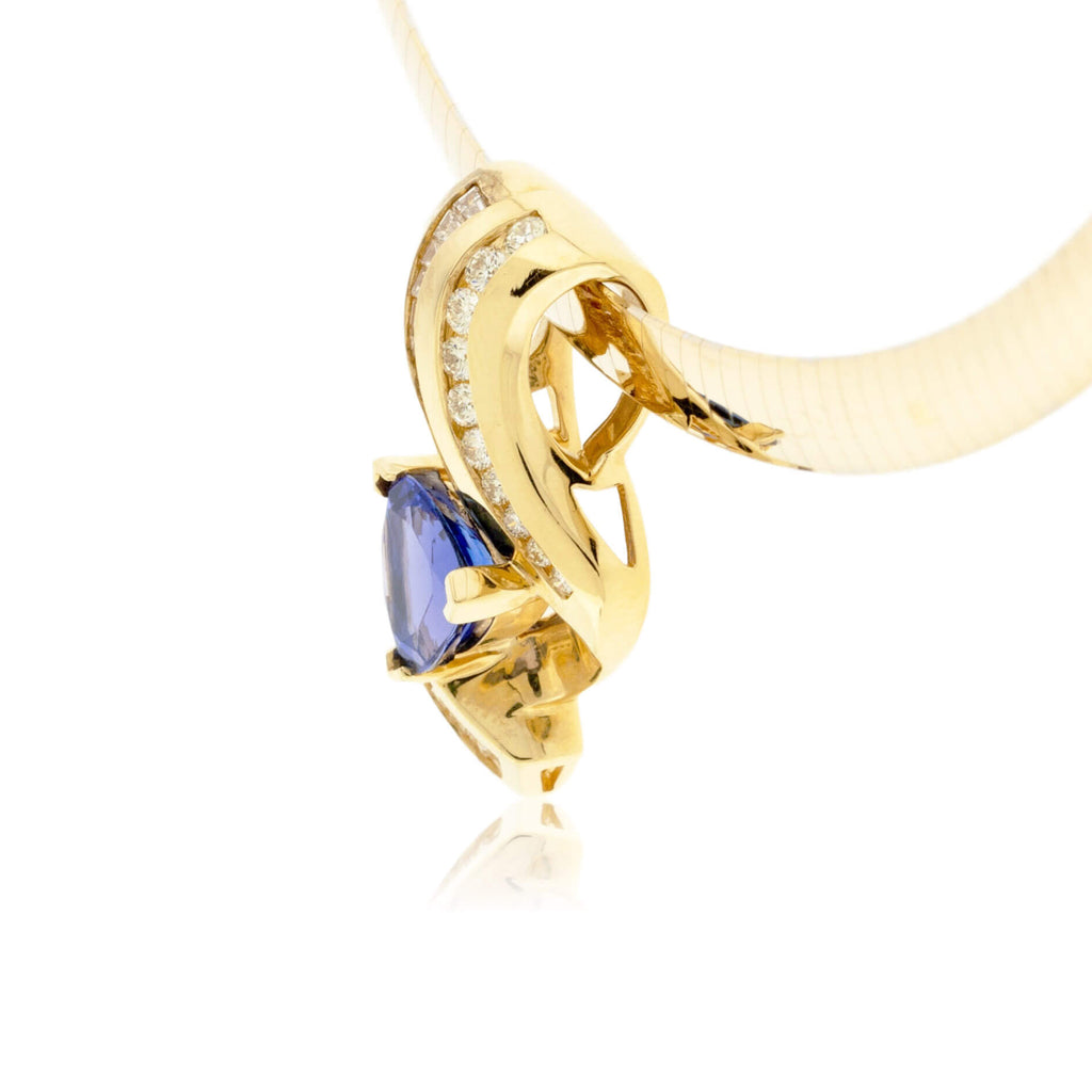 Trillion Tanzanite and Diamond Pendant
