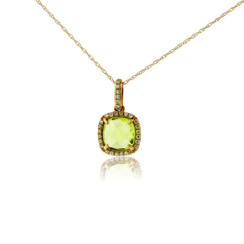 Cushion-Cut Peridot and Diamond Halo Pendant