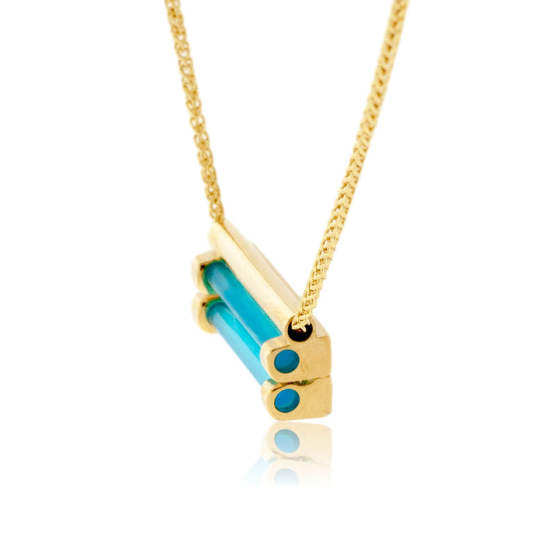 Yellow Gold with Lab Grown Emeralds and Glacier Blue Onyx Pendant
