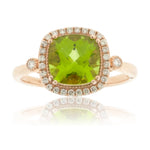 Cushion Cut Peridot and Diamond Halo Rose Gold Ring