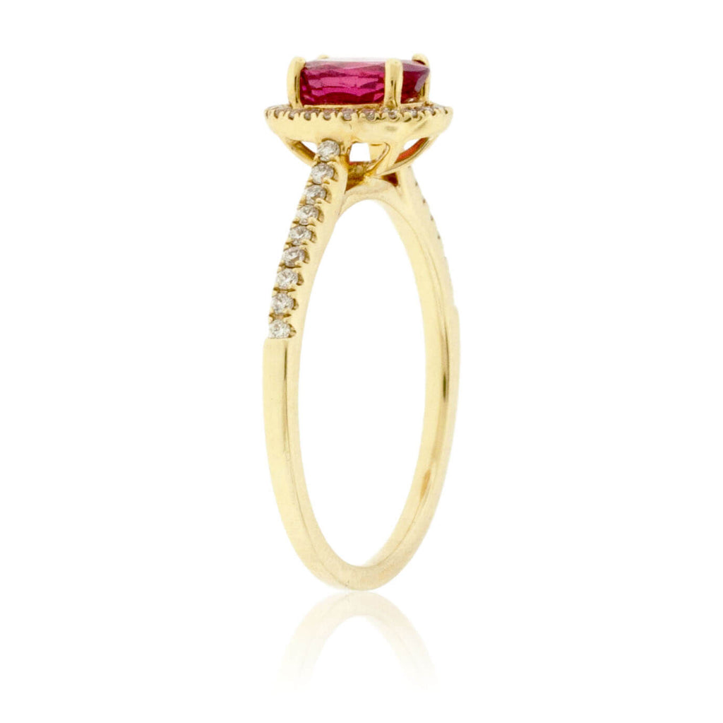 Oval Shaped Ruby and Diamond Ring