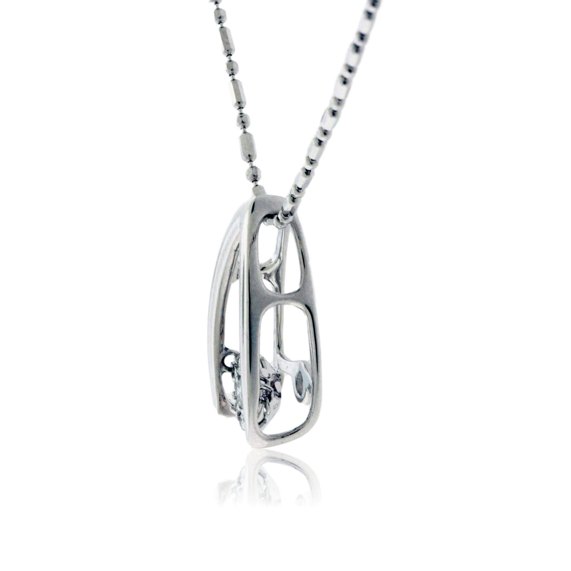 Dancing Diamond Drop White Gold Pendant