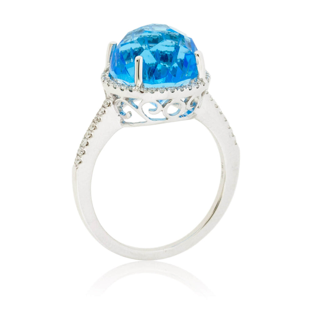 Fancy Daisy Cut Blue Topaz with Diamond Halo Ring