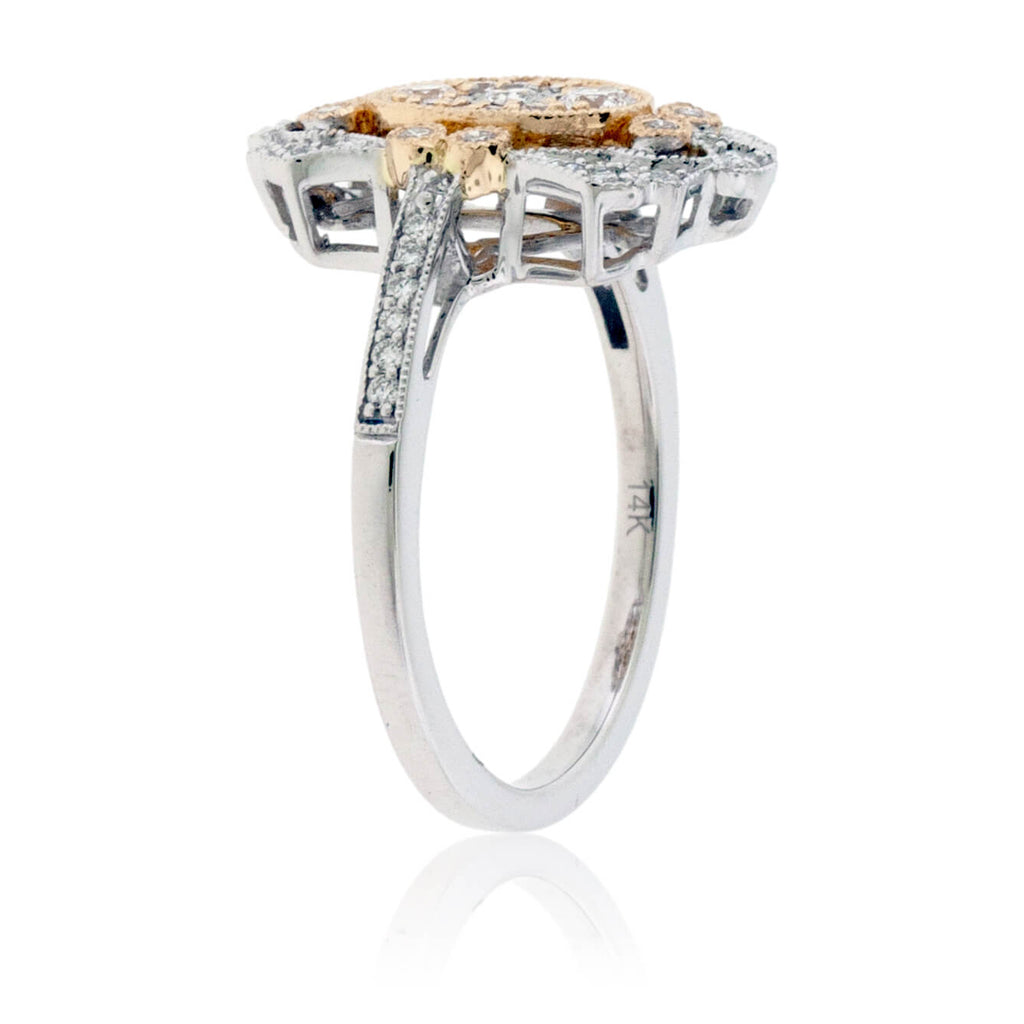 Two Toned Diamond Art Deco Style Ring