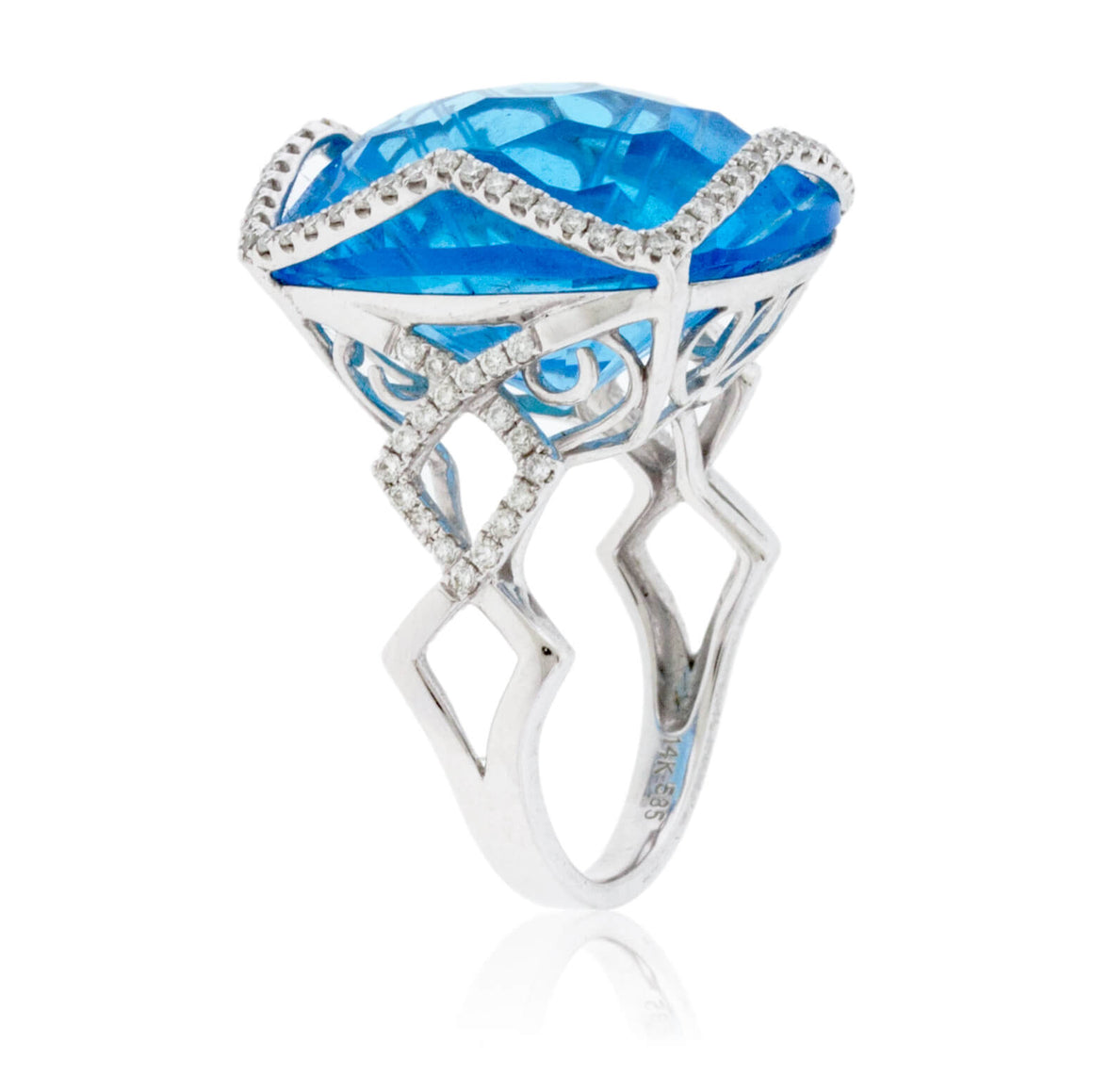 Fancy Cut Blue Topaz with Diamond Accents Ring