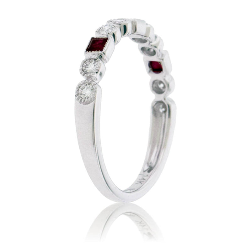 Princess Cut Ruby & Round Diamond Milgrain Style Stackable Band