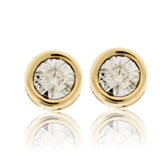 Gold Bezel Set Diamond Post Stud Earrings