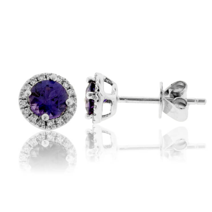 Purple Sapphire with Diamond Halo Stud Earrings