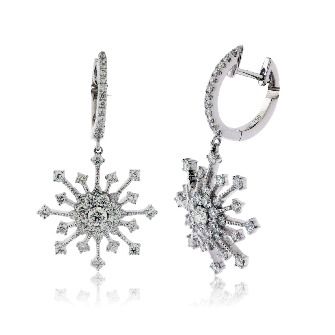 Diamond Snowflake Burst Earrings