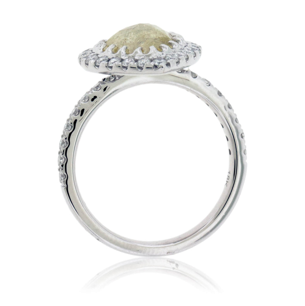 Rose-Cut Yellow Pear Shaped Diamond & Diamond Halo Style Ring