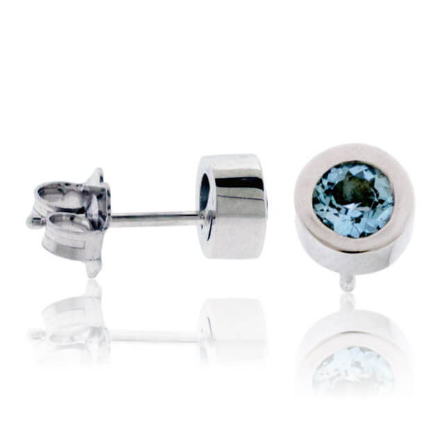 Bezel-Set Round Cut Aquamarine Stud Earrings