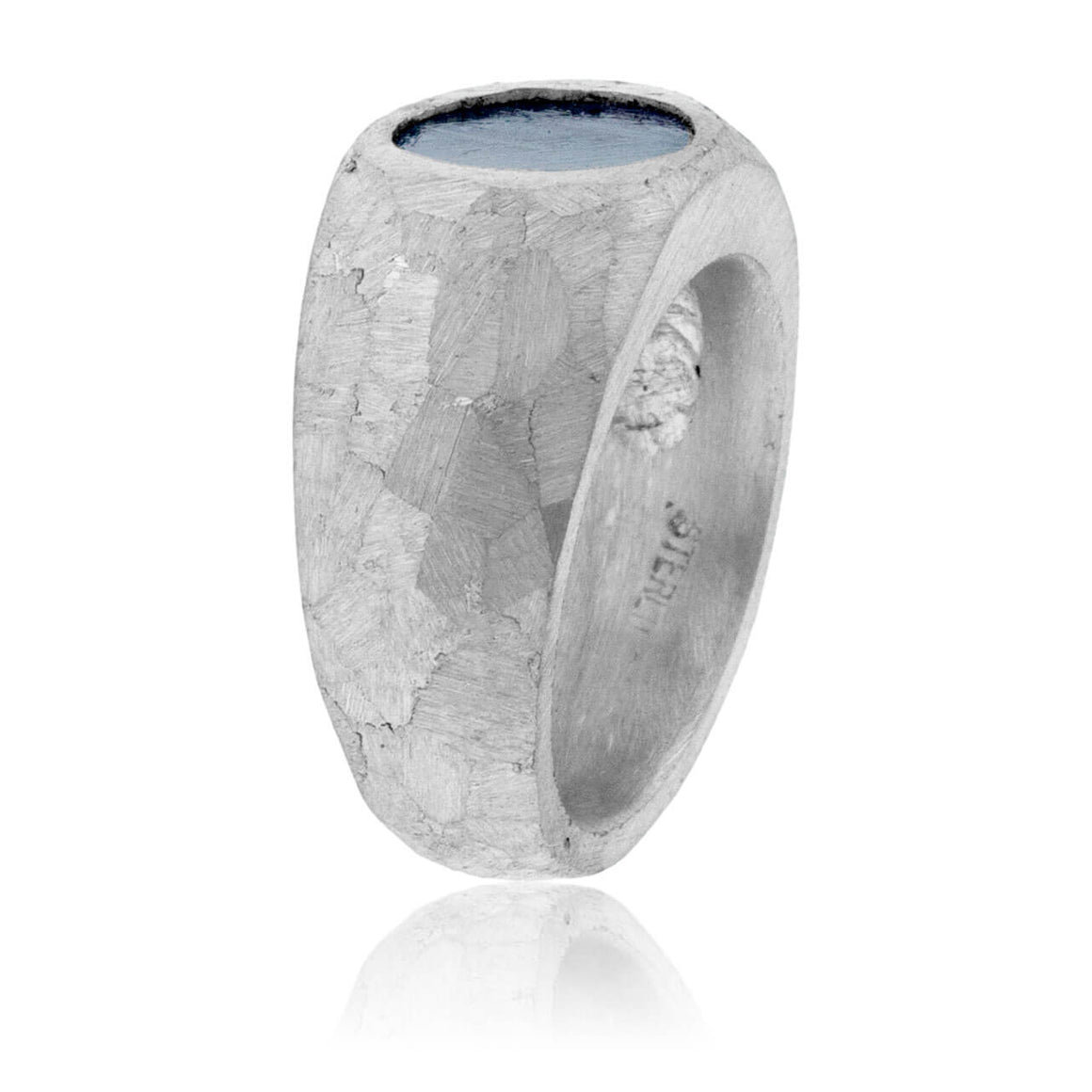 Sterling Silver Stone Finished Meteorite Ring