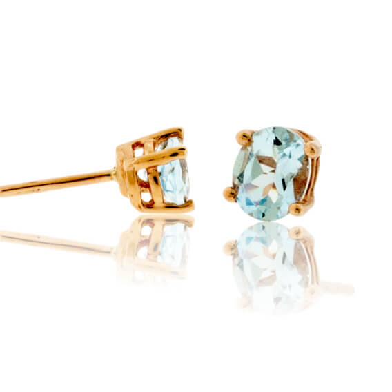 Oval Cut Aquamarine Stud Earrings