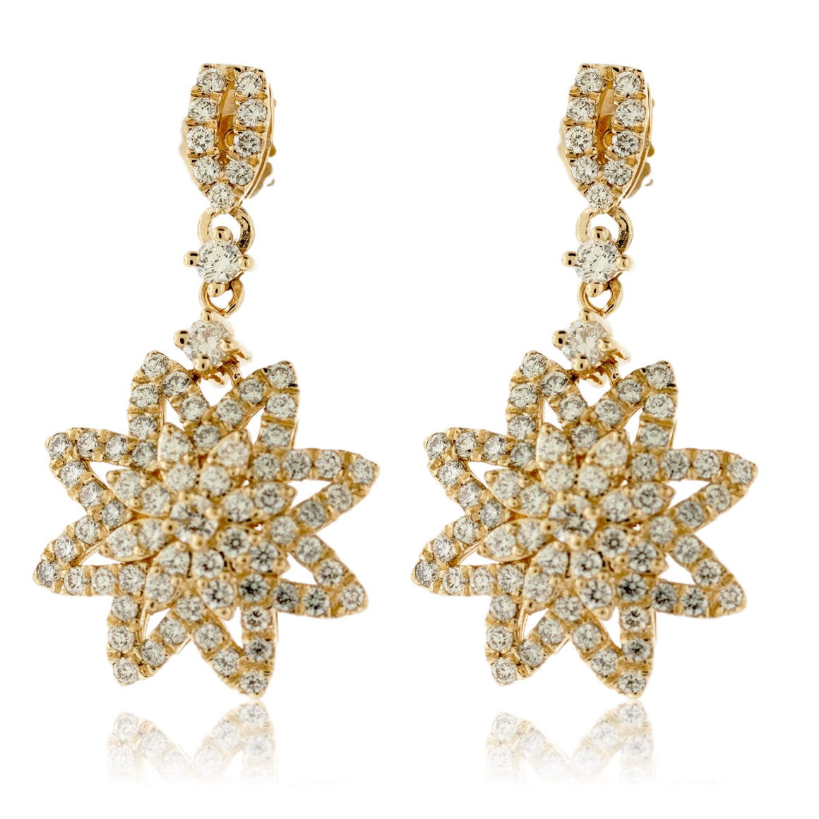 Pave Diamond Snowflake Earrings