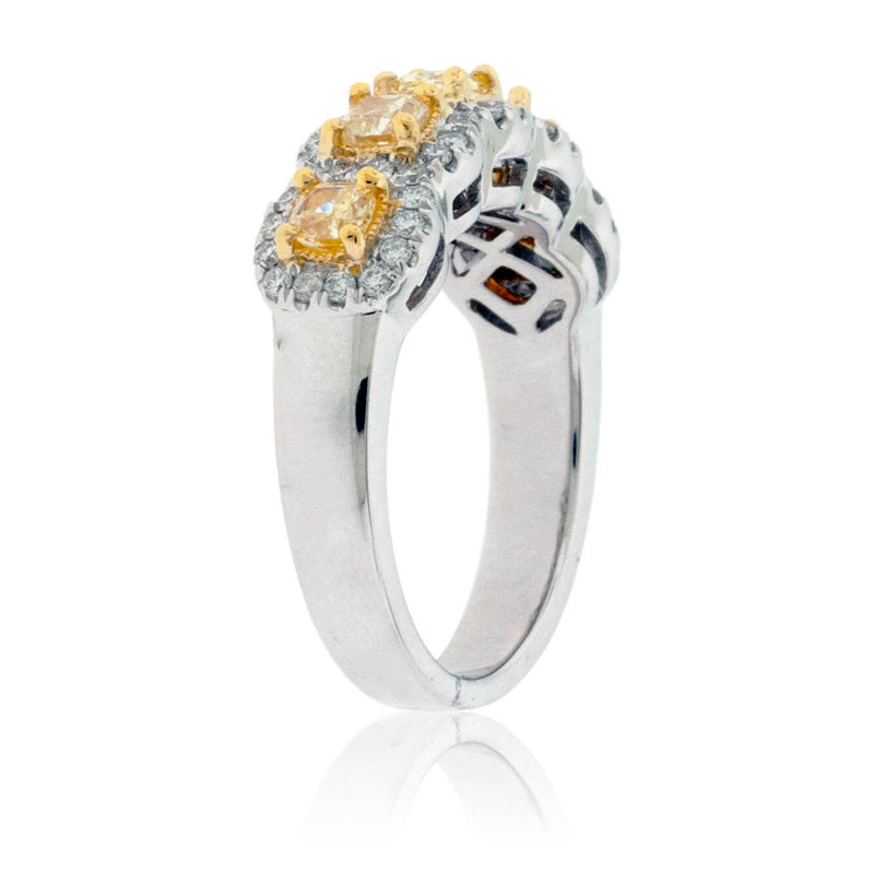 Princess Cut Yellow Diamond & Diamond Band