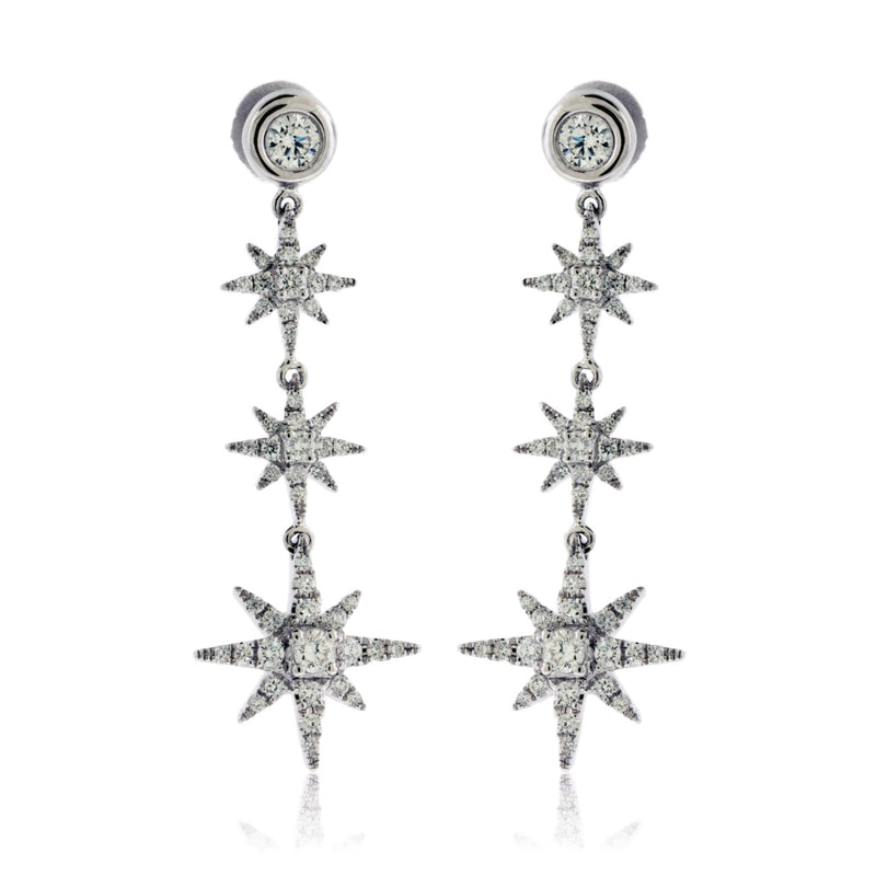 White Gold and Diamond Dangle Star Style Earrings