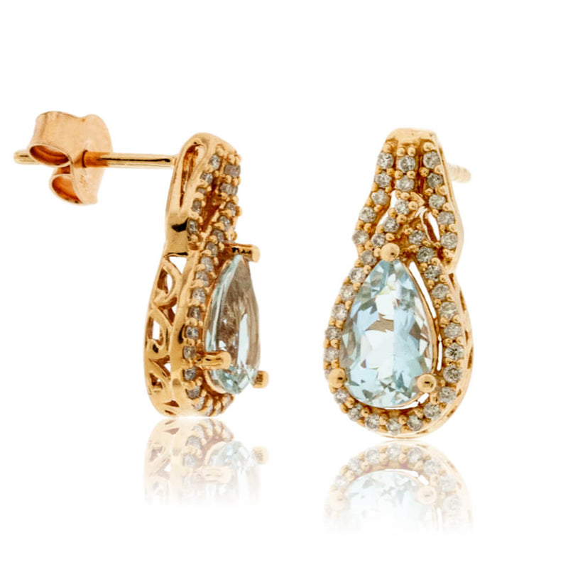 Pear Shaped Aquamarine Diamond Halo Earrings
