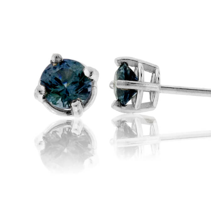 Basket Style 4 Prong Blue Sapphire Stud Earrings