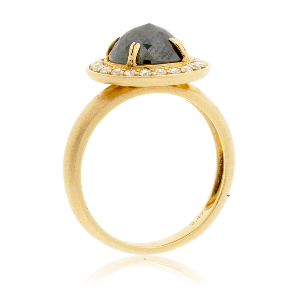 Rose-Cut Black Diamond & Diamond Halo Style Ring