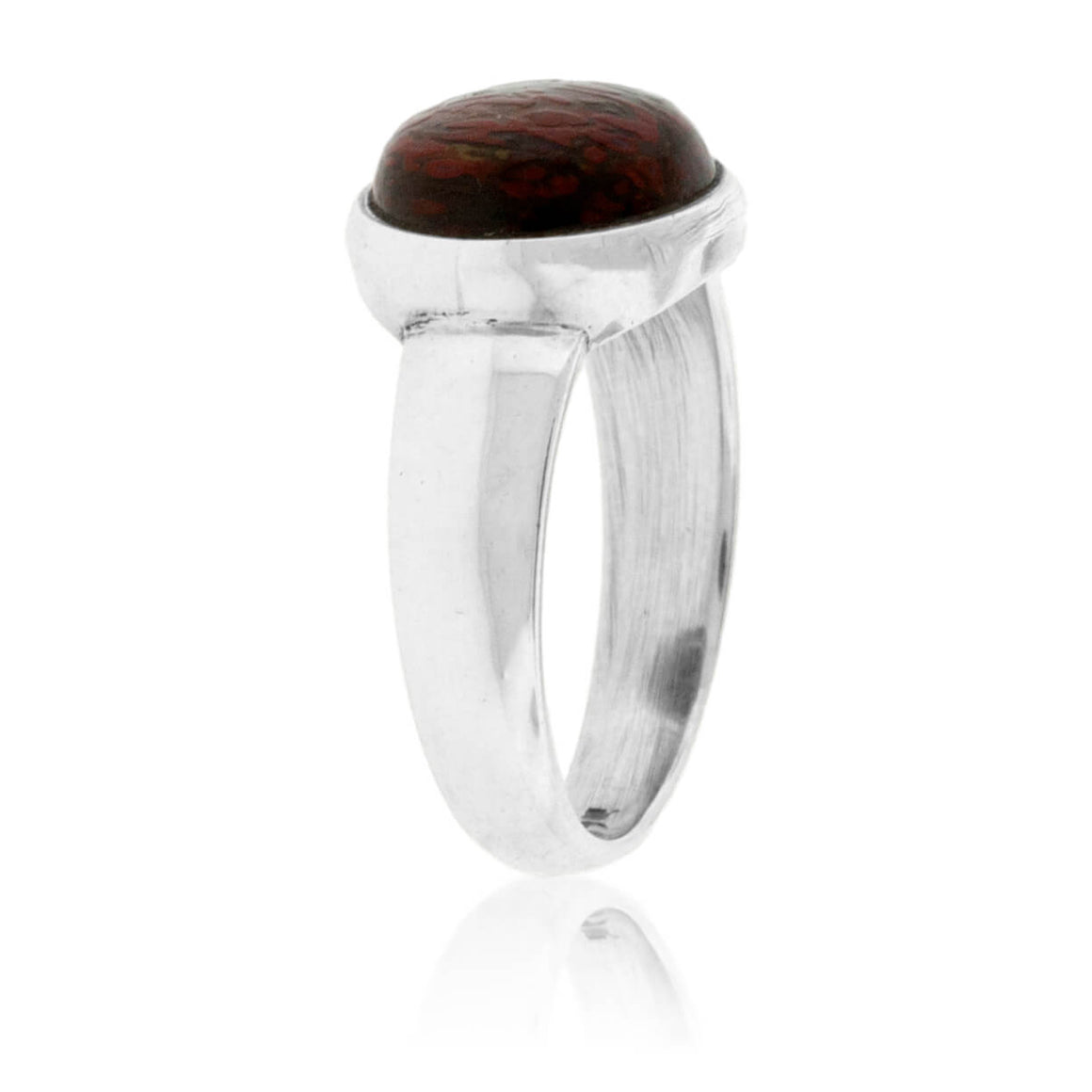 Sterling Silver Dinosaur Bone Cabochon Style Ring