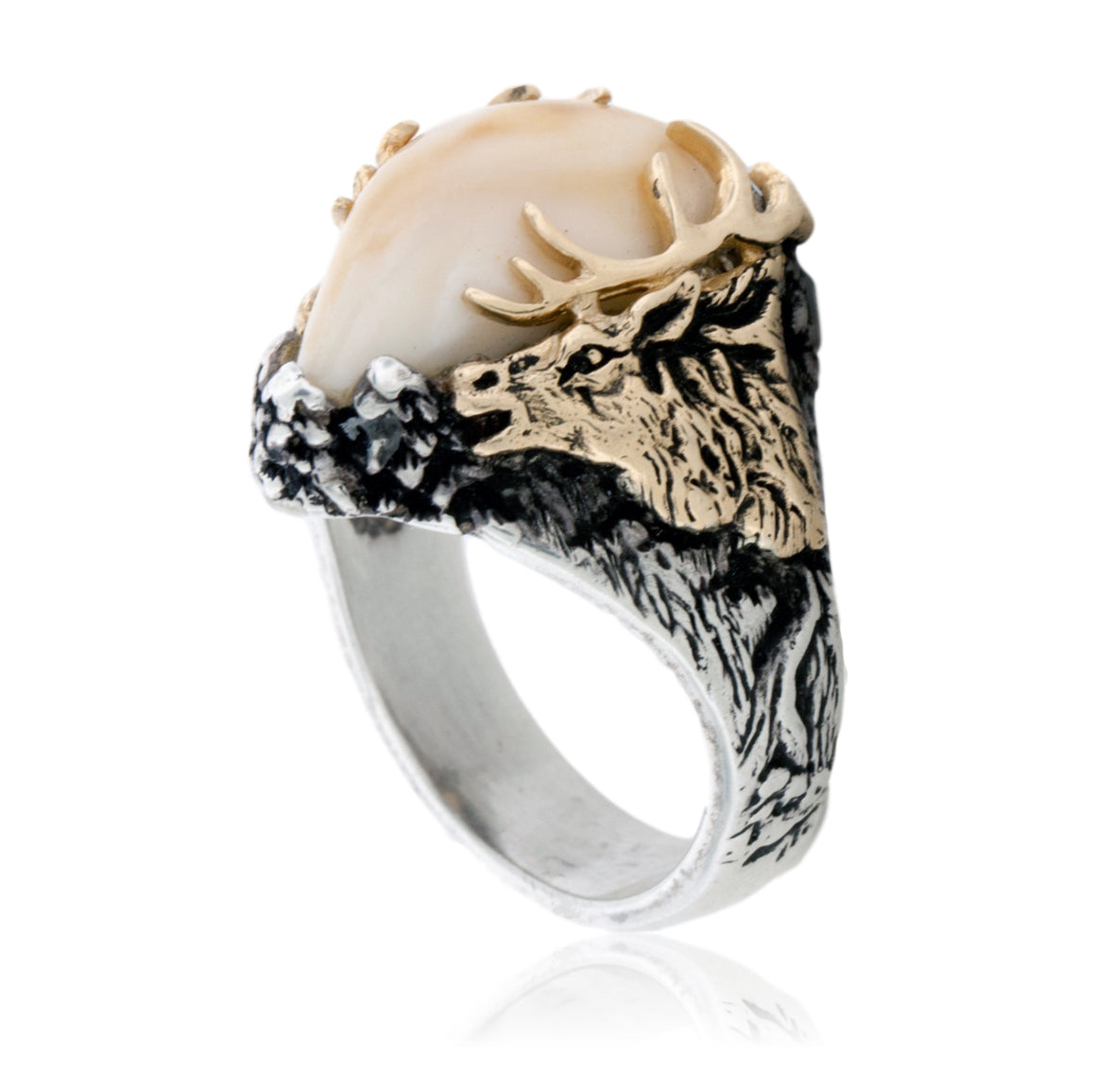 Elk Ivory Tooth Trophy Antler Ring