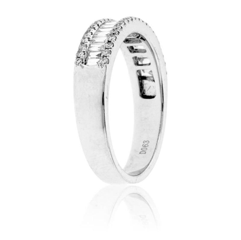 Baguette Diamond & Double Row Round Diamond Ring