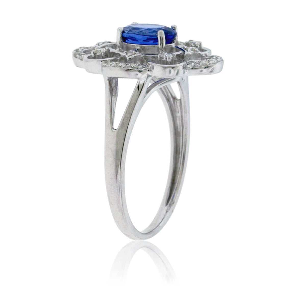 Tanzanite and Diamond Intricately Detailed Ring