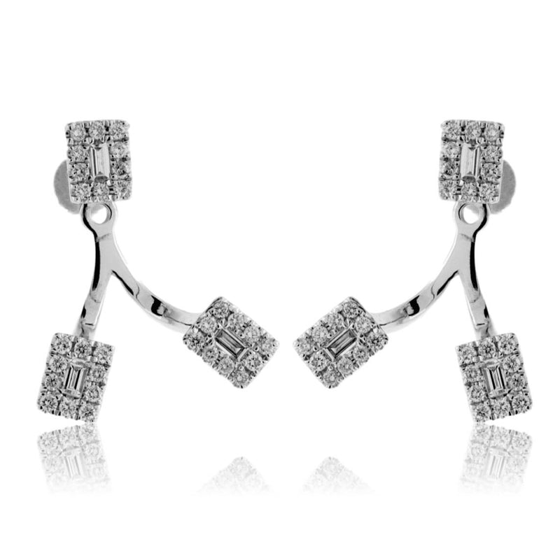 Adjustable Length Baguette and Round Diamond Dangle Earrings