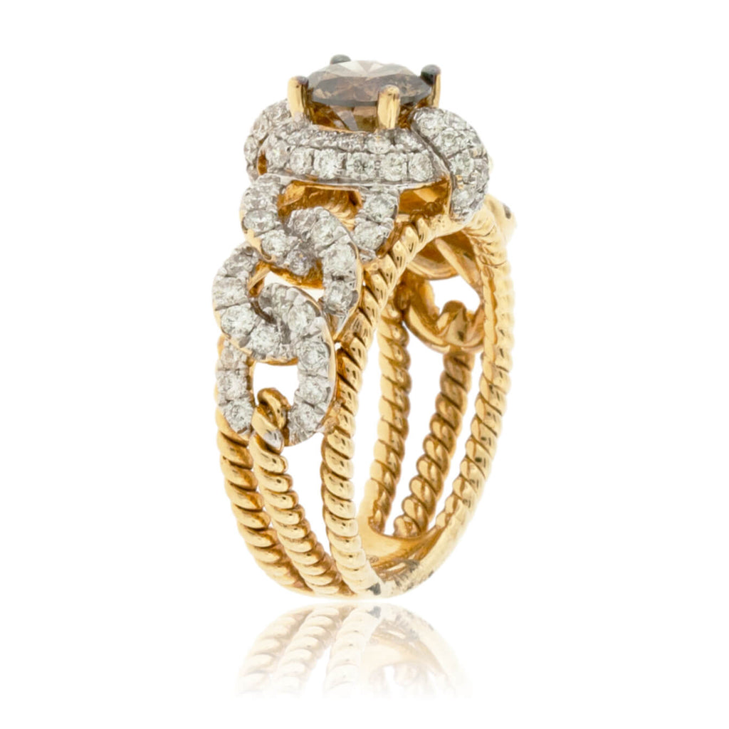 Brown Diamond & Diamond Accent Ring