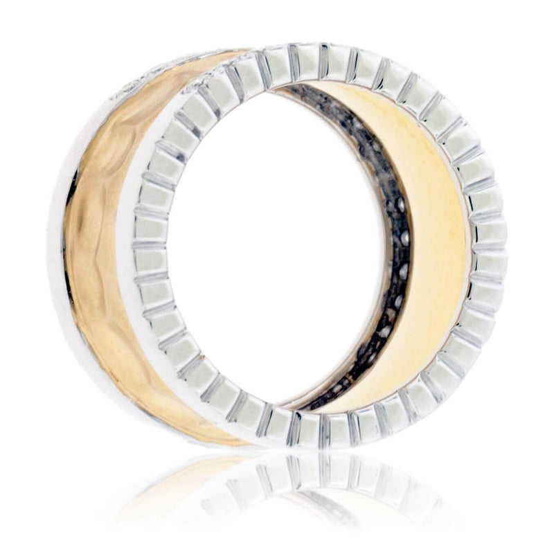 Textured Yellow Gold & Double Row Round Diamond Ring