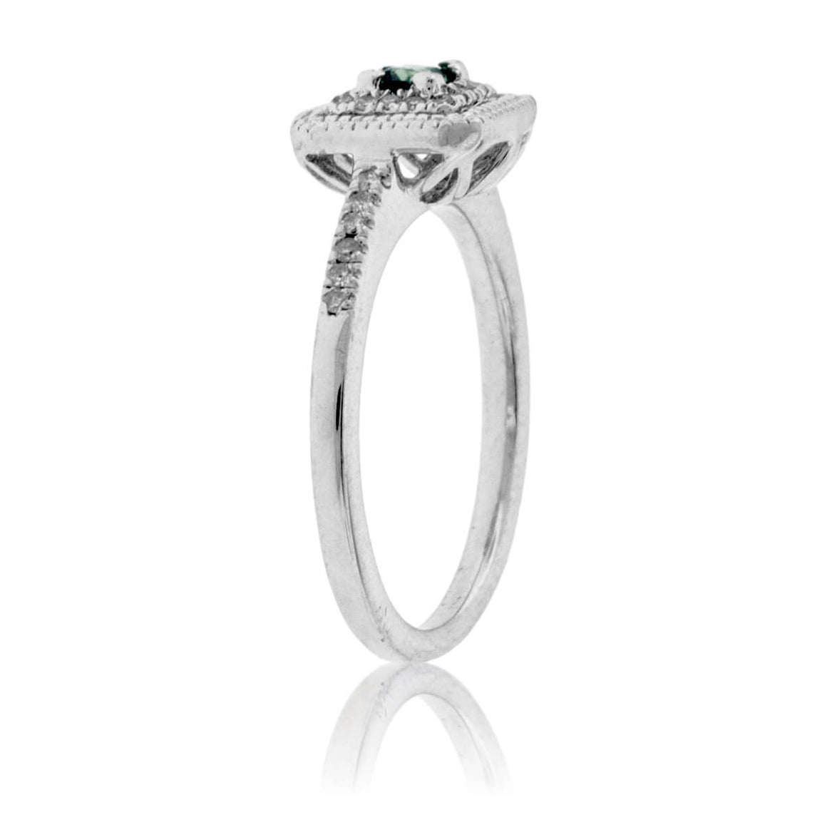 Green Sapphire and Diamond Square Ring