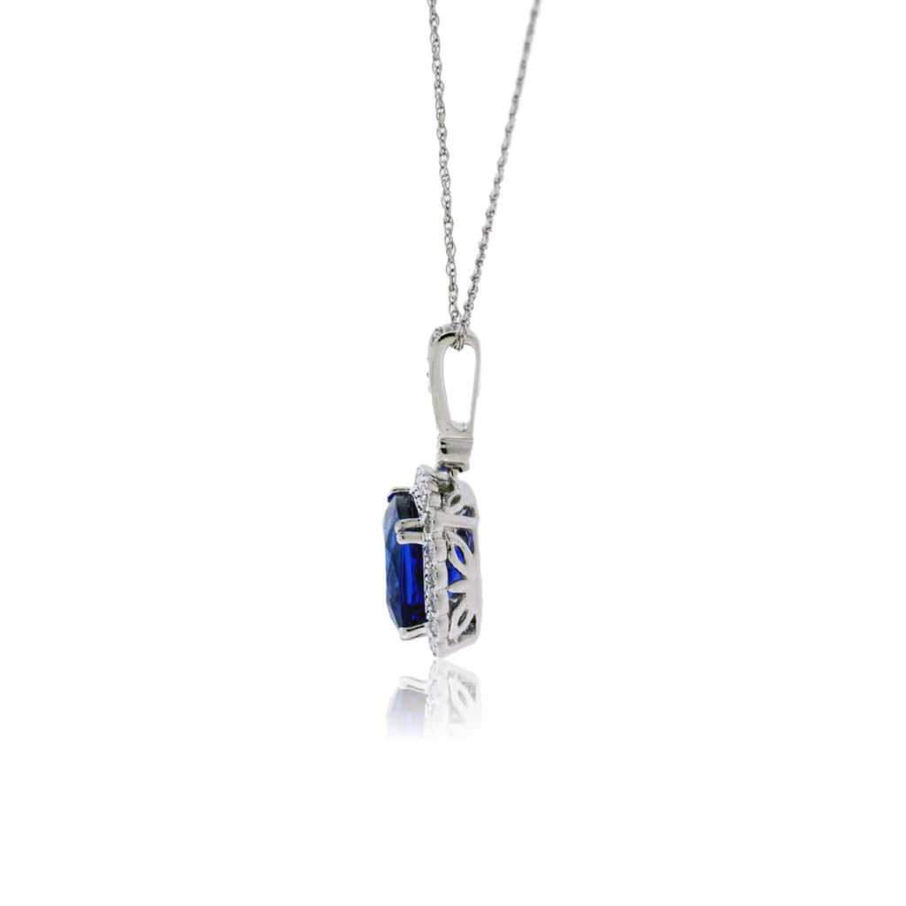Cushion Cut Tanzanite Pendant in Milgrain Style Halo