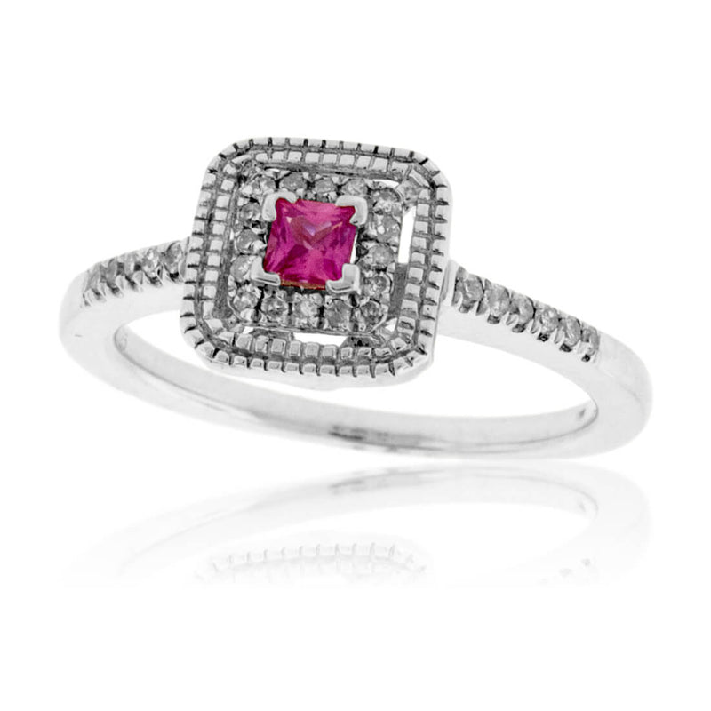 Pink Sapphire and Diamond Square Ring
