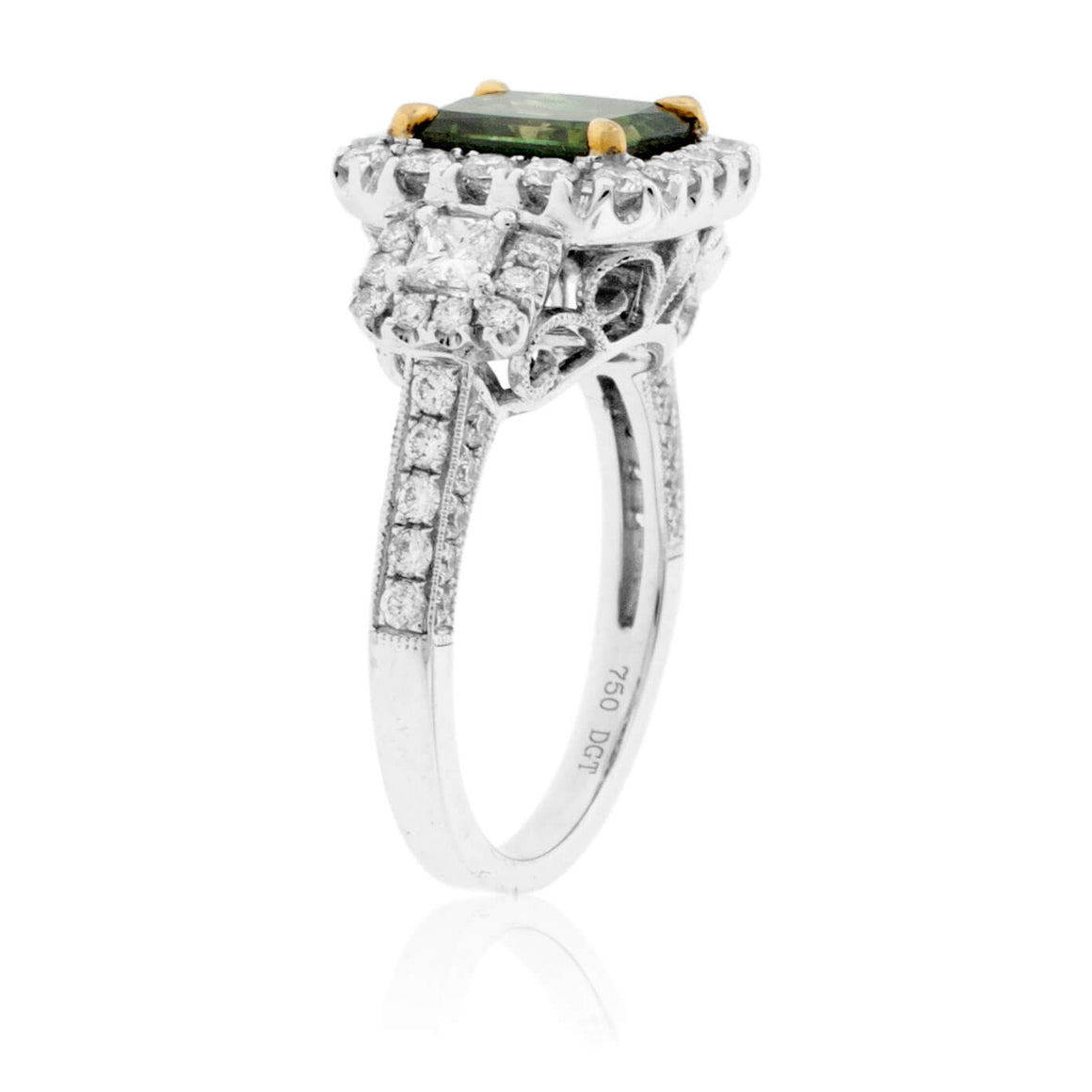 Princess-Cut Green Diamond & Diamond Halo Style Ring