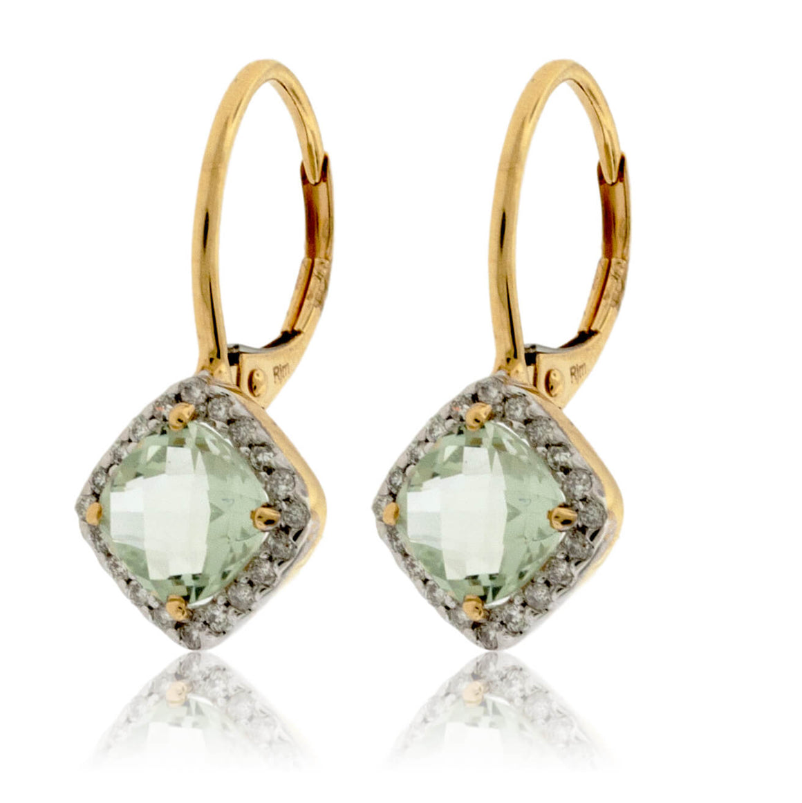 Green Amethyst and Diamond Dangle Earrings