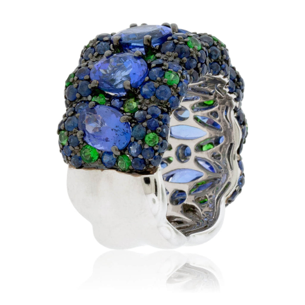 Oval Tanzanite Ring with Sapphire & Tsavorite Accent Stones