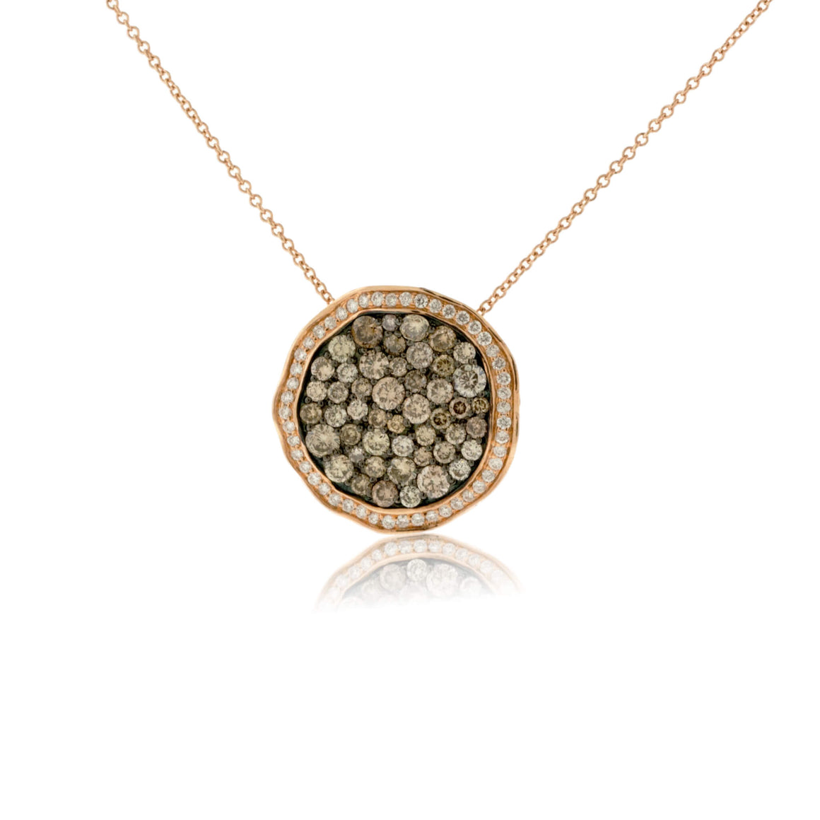 Brown Chocolate Diamond and White Diamond Disc Pendant with Chain