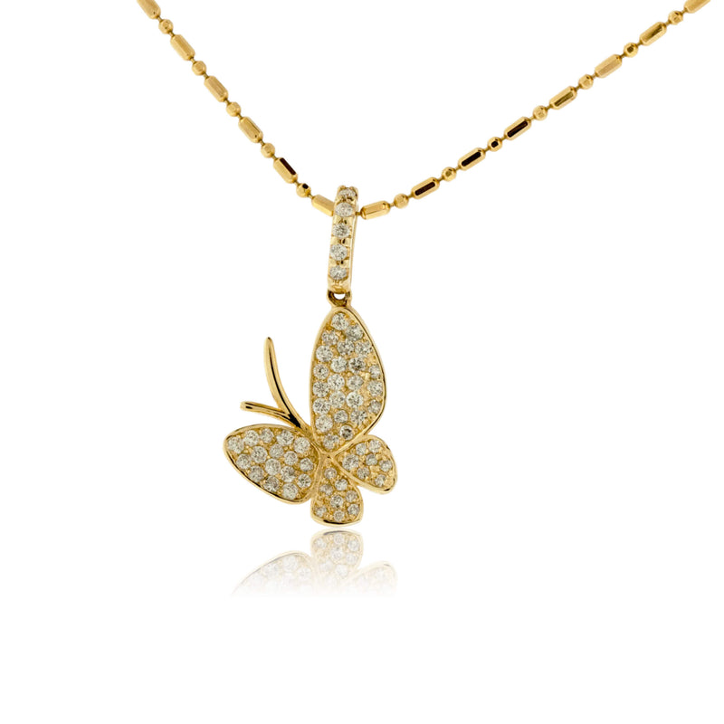 Yellow Gold Diamond Butterfly Pendant