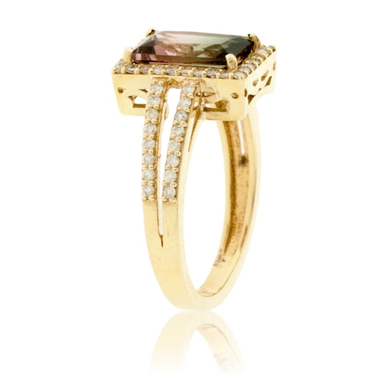 Watermelon Tourmaline & Diamond Split Shank Ring