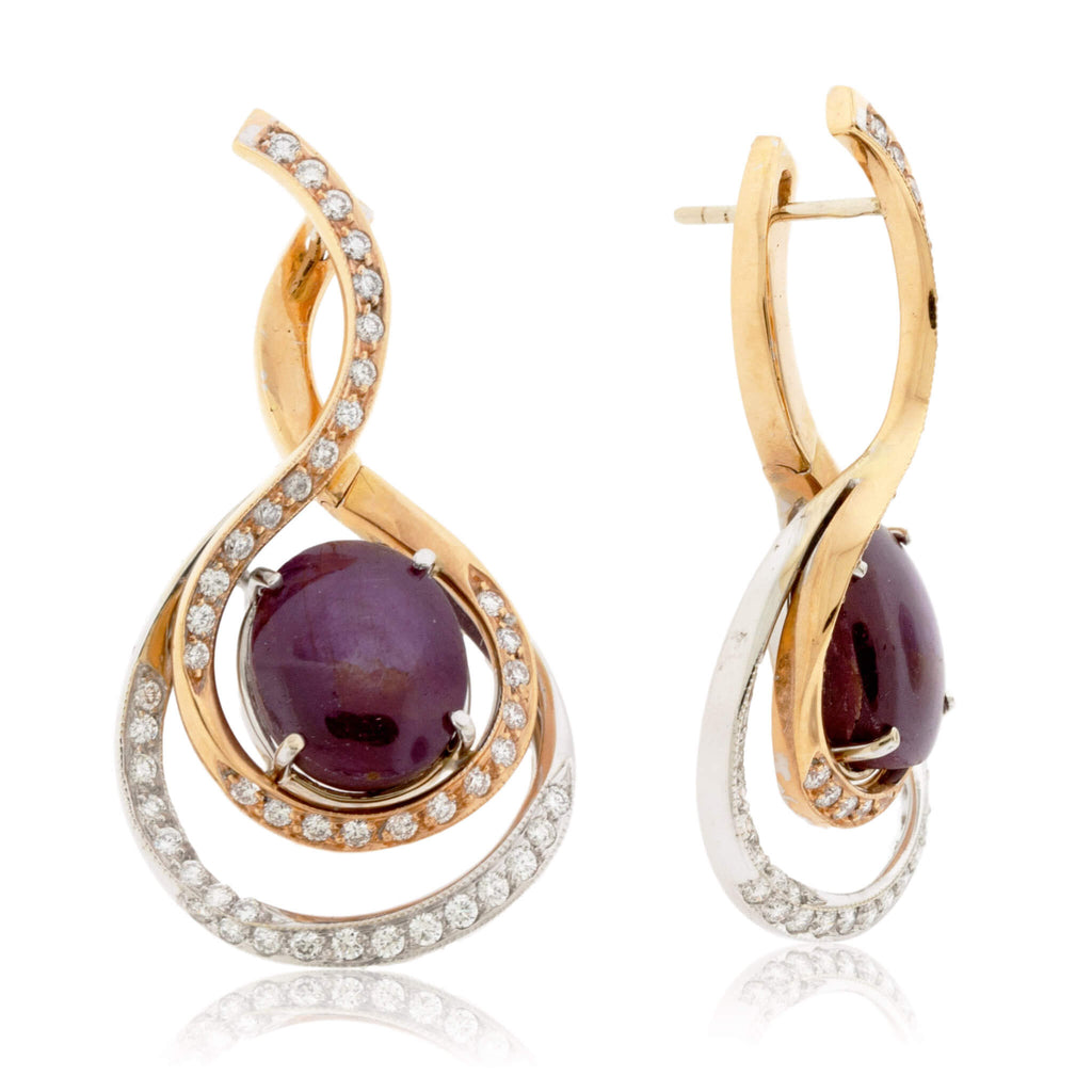Natural Star Ruby Cabochon & Diamond Accented Earrings