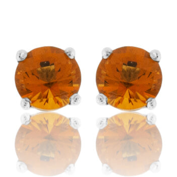 Round-Cut Citrine Stud Post Earrings