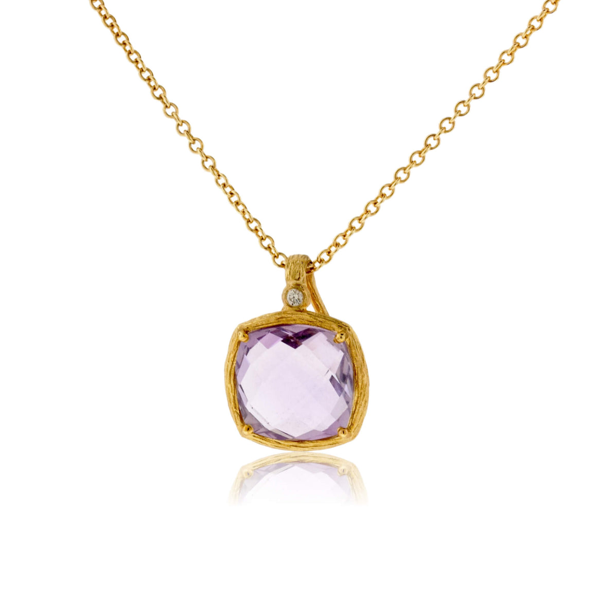Amethyst and Diamond Textured Gold Necklace
