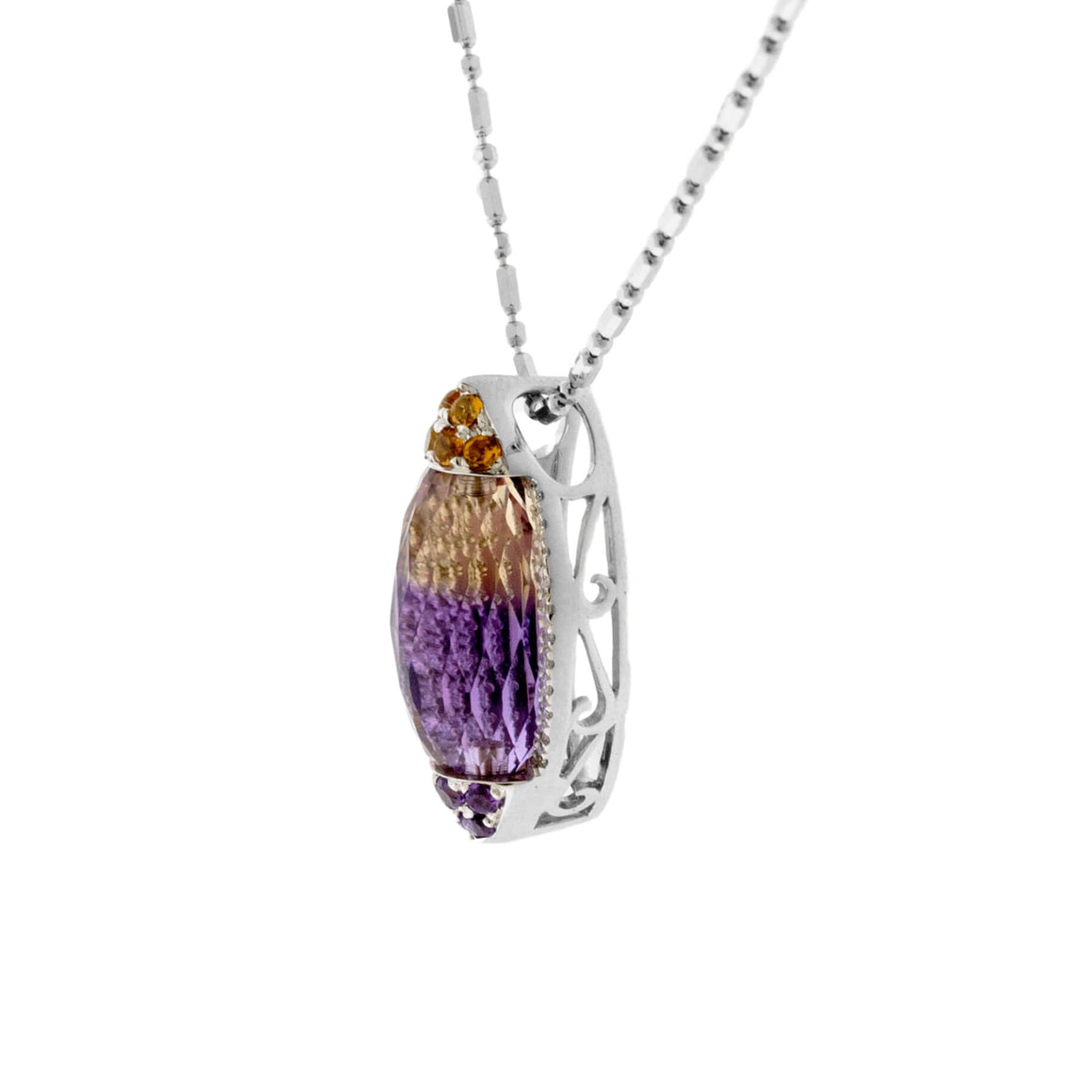 Carved Ametrine, Citrine, Amethyst, & Diamond Pendant