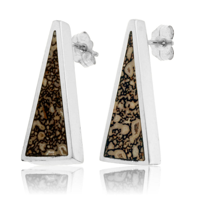 Triangle Dinosaur Bone Inlay Post Earrings